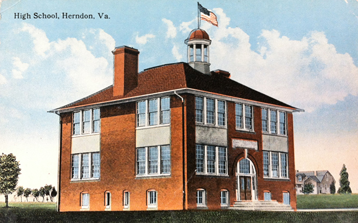 Postcard, circa 1920, showing the front exterior of the Herndon School.