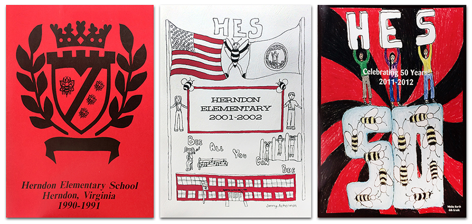 Photograph of the covers of three Herndon Elementary School yearbooks.