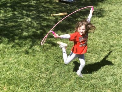 Girl jump roping on feel good Friday