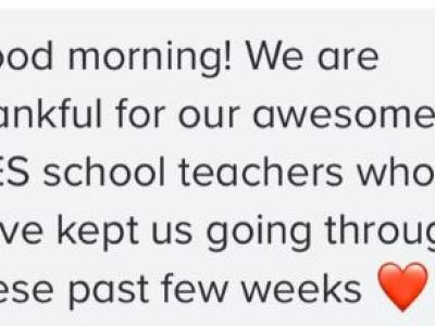 This note of thanks was tweeted by one of our parents.